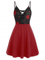 Cami Sun and Moon Lace Up Mini Dresss -