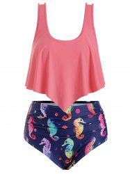 Plus Size Sea Horse Print Ruched Flounce Bikini Swimsuit -