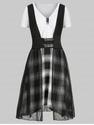 Plaid V Neck Dress with Crinkle Tank Top -
