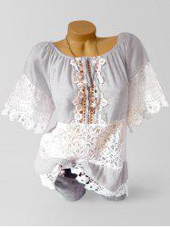 Applique Lace Panel See Thru Casual Blouse -