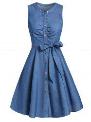 Fit And Flare Button Dress with Belt -