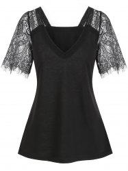 Plunging Lace Sleeve See Thru Tee -