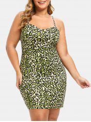 Plus Size Leopard Print Cami Bodycon Dress -