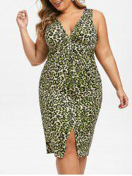 Plus Size Plunge Leopard Print Twist Bodycon Dress -