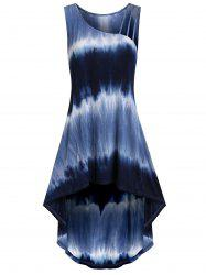 Skew Collar High Low Tie Dye Tank Top -