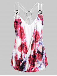 Plus Size Strappy O Rings Floral Surplice Cami Top -