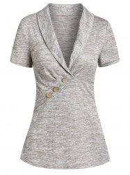 Space Dye Print Shawl Collar Button Embellished T-shirt -