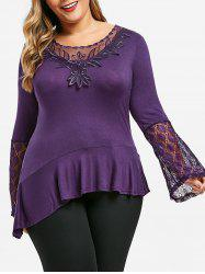 Plus Size Bell Sleeve Lace Panel Flounce Tee -