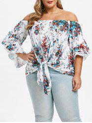 Plus Size Printed Tie Off The Shoulder Top -