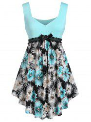 Plus Size Floral Sweetheart Neck Curved Long Tank Top -