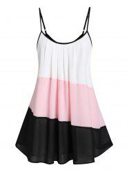 Plus Size Cami Flare Color Block Tank Top -