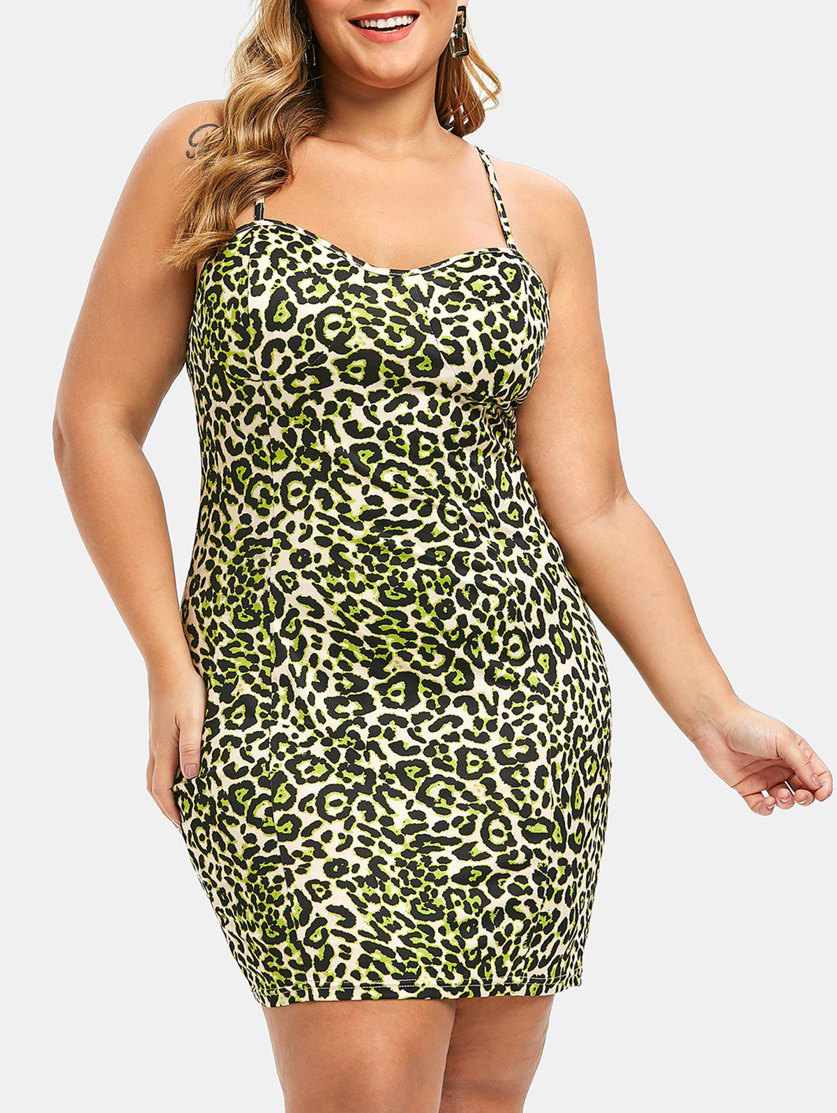 Trendy Plus Size Leopard Print Cami Bodycon Dress