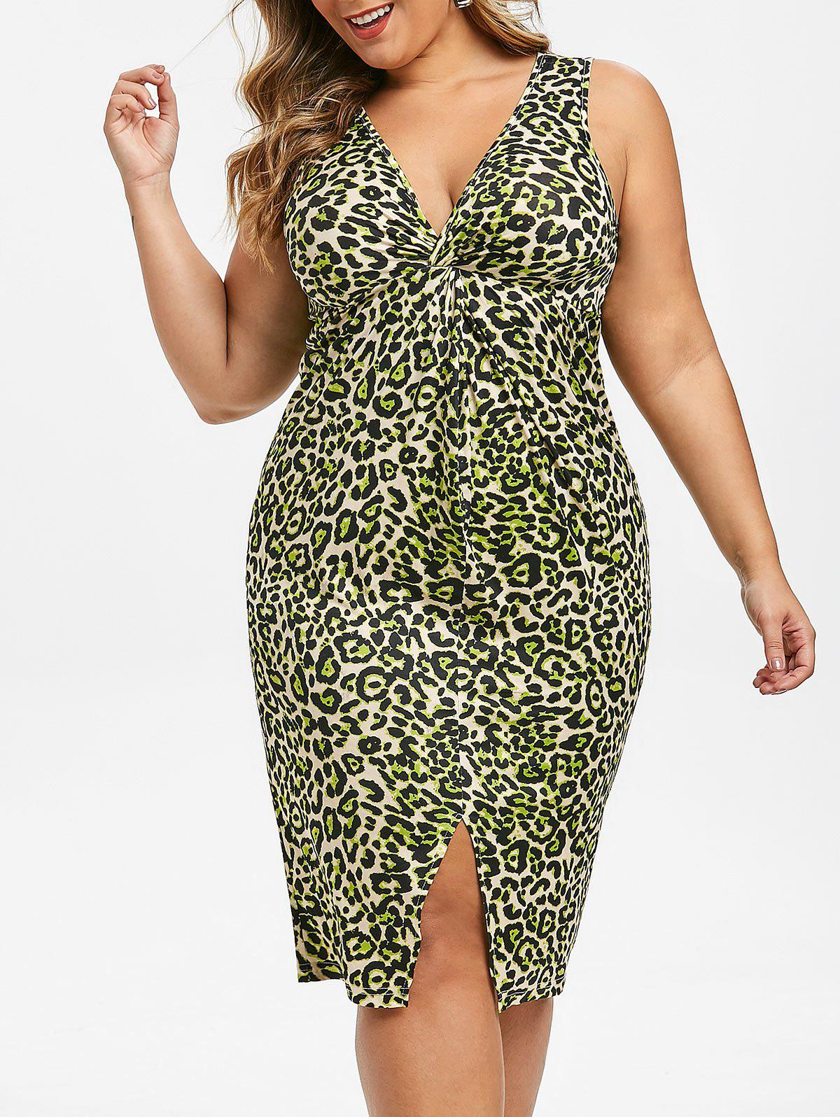 Chic Plus Size Plunge Leopard Print Twist Bodycon Dress