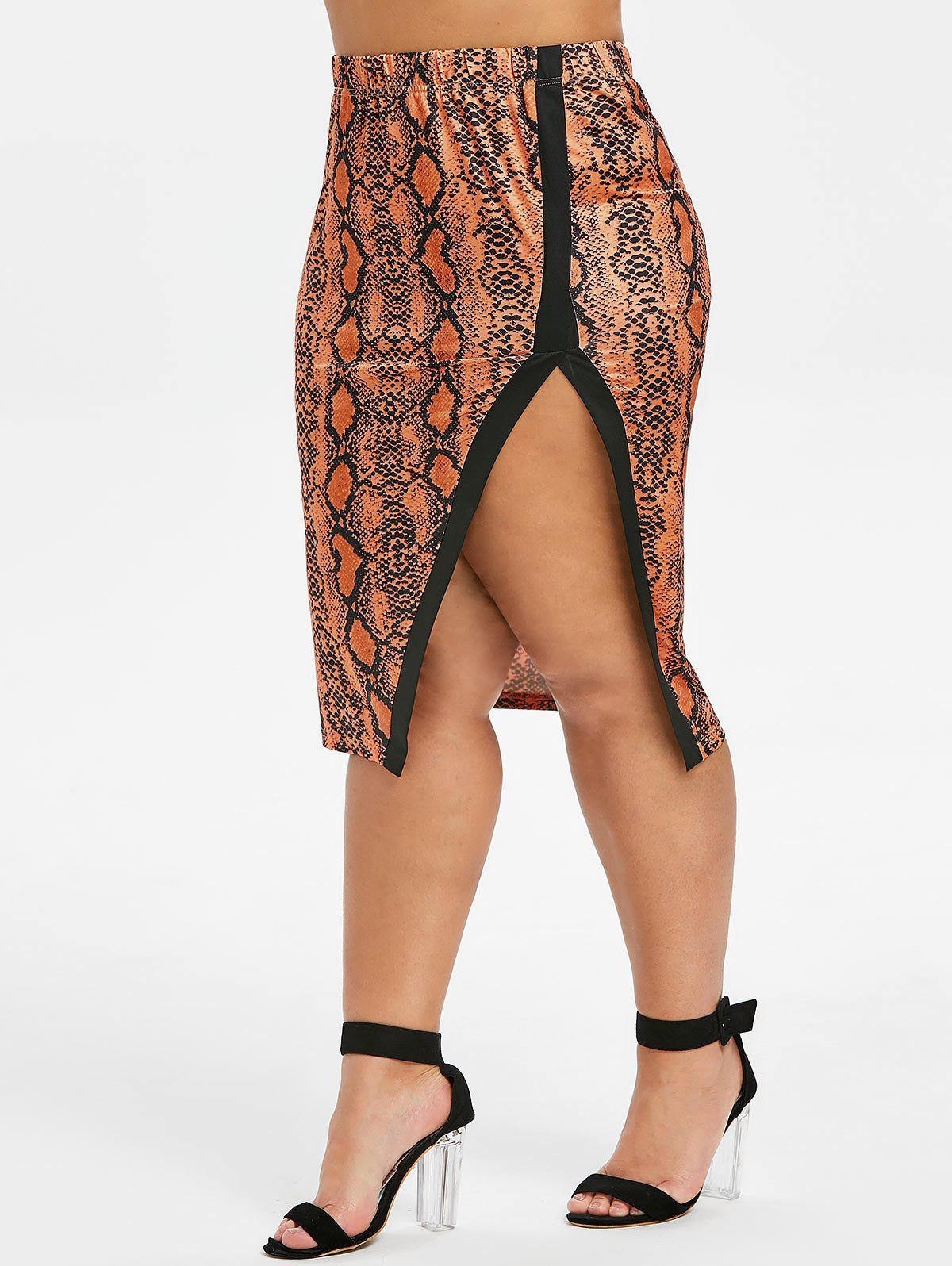 Affordable Plus Size Snake Print High Slit Bodycon Skirt