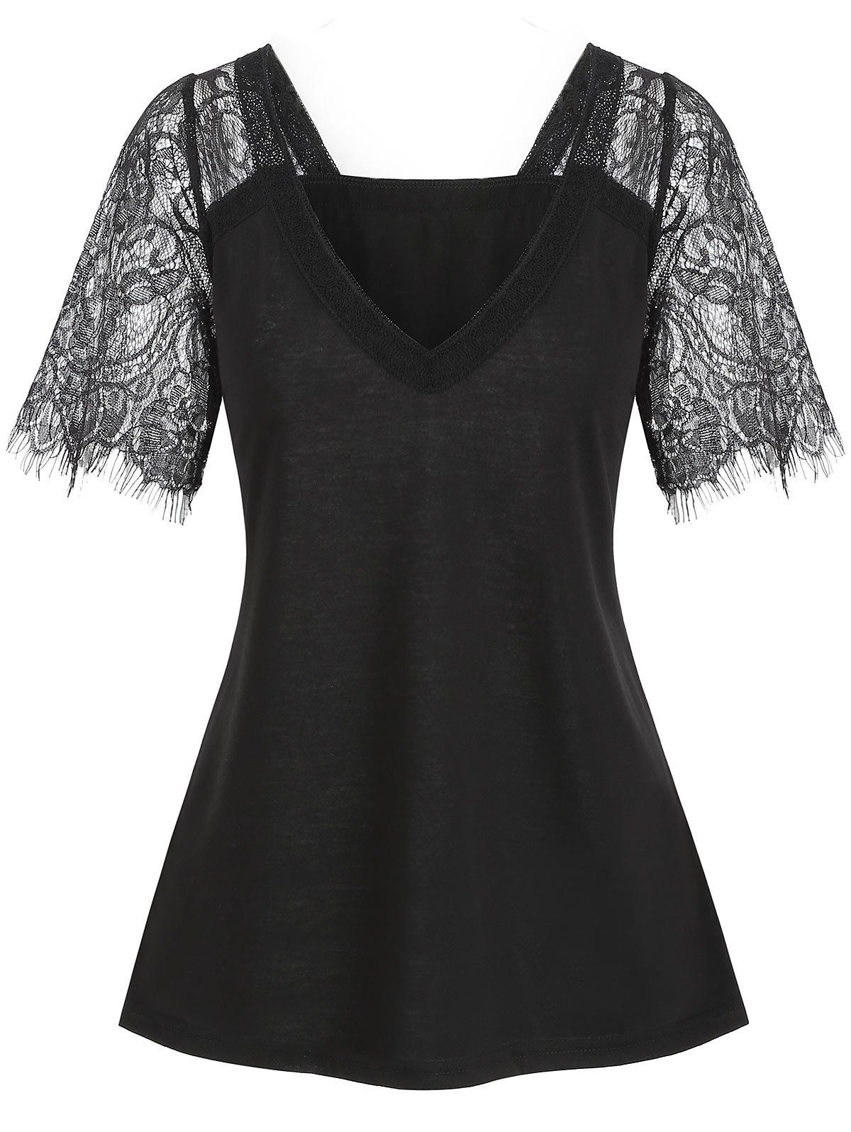 New Plunging Lace Sleeve See Thru Tee