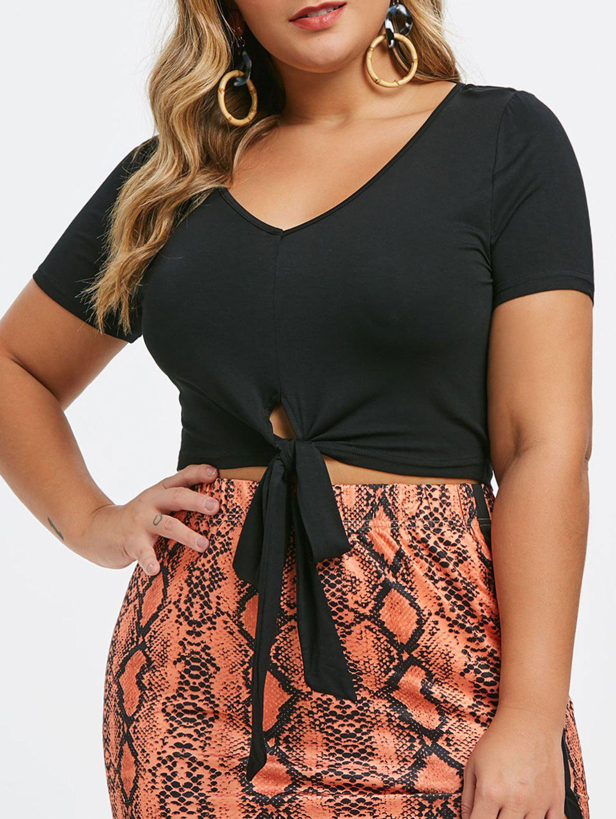 Shops Plus Size Front Tie Cropped Tee