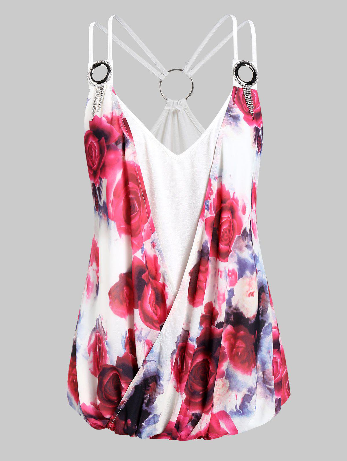 Affordable Plus Size Strappy O Rings Floral Surplice Cami Top