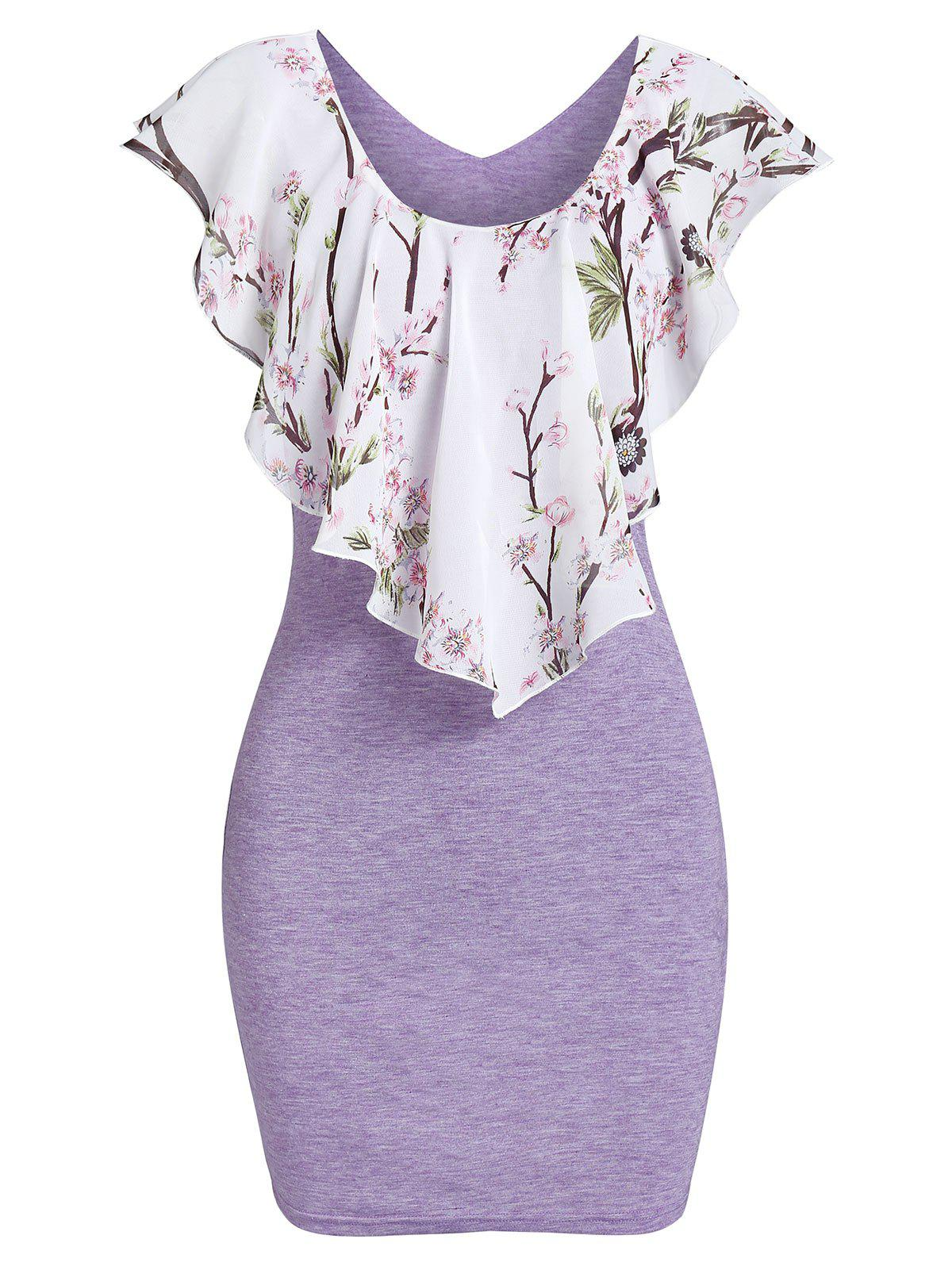 Outfit Floral Print Popover Bodycon Dress