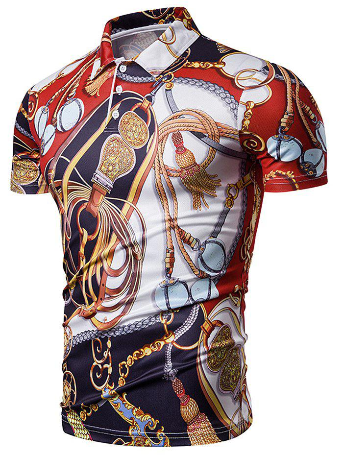 Sale Allover Scarf Print Turn Down Collar Button T-shirt