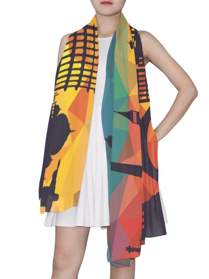 New Geometric Architecture Printed Long Scarf
