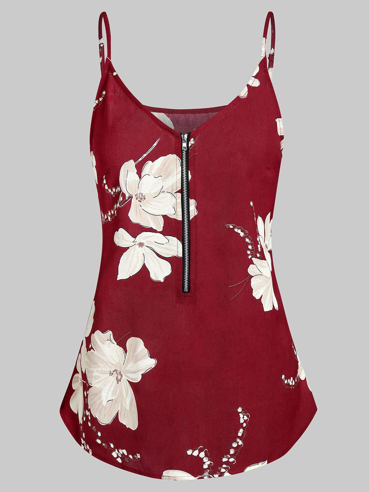Trendy Spaghetti Strap Floral Print Zippered Tank Top