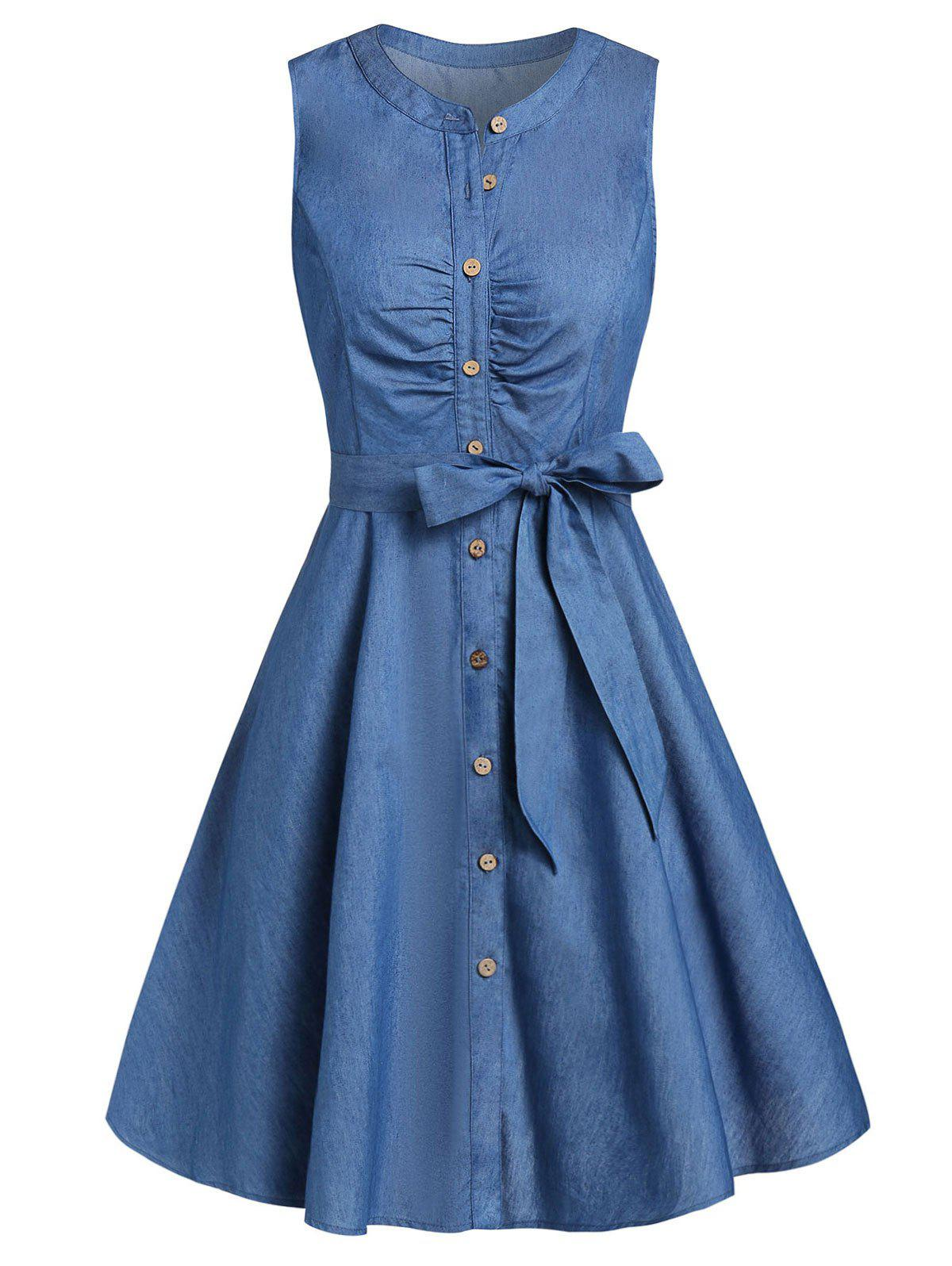 Cheap Fit And Flare Button Dress with Belt
