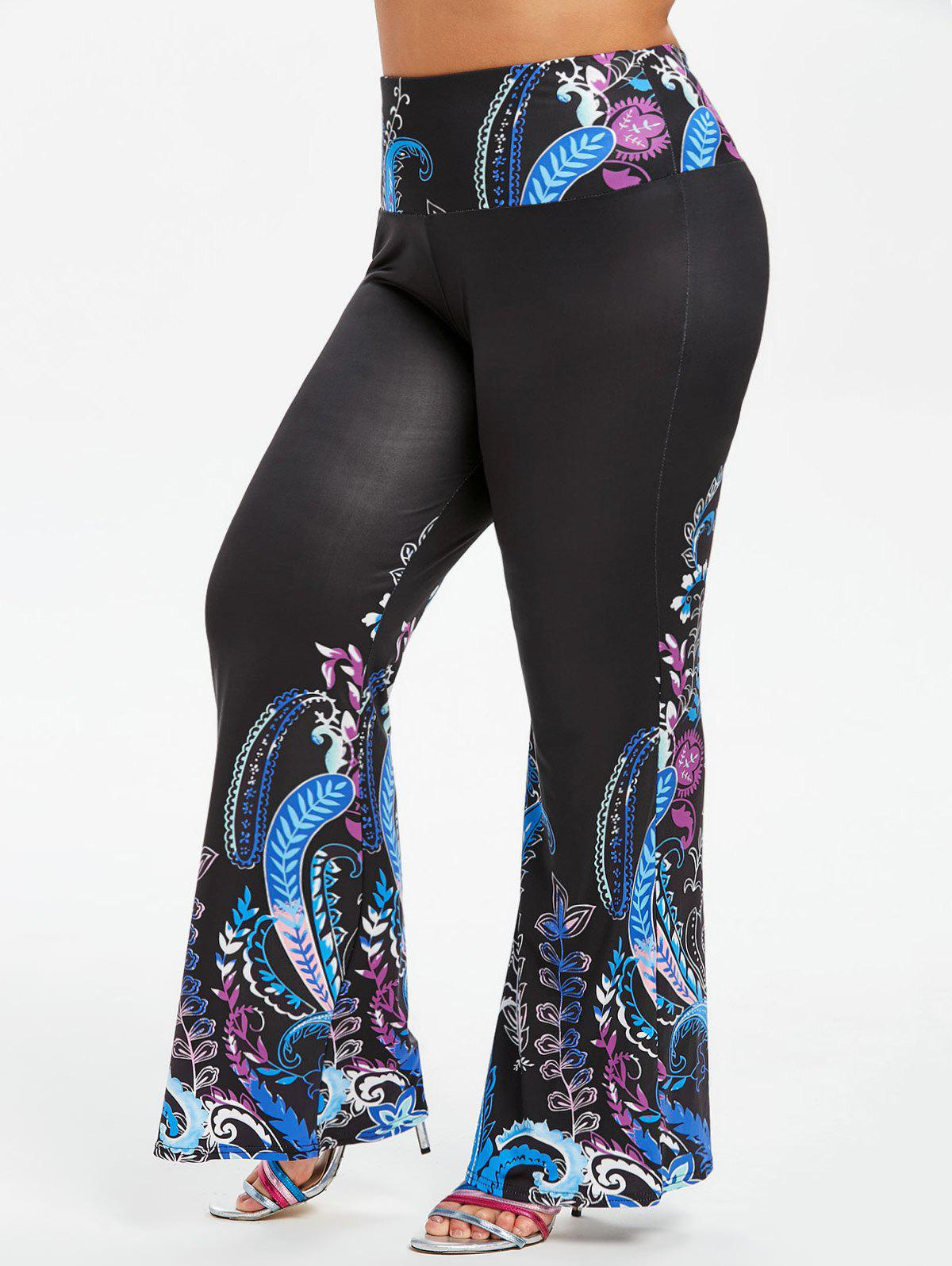 Affordable High Waisted Printed Plus Size Boot Cut Pants