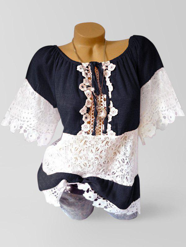 Cheap Applique Lace Panel See Thru Casual Blouse