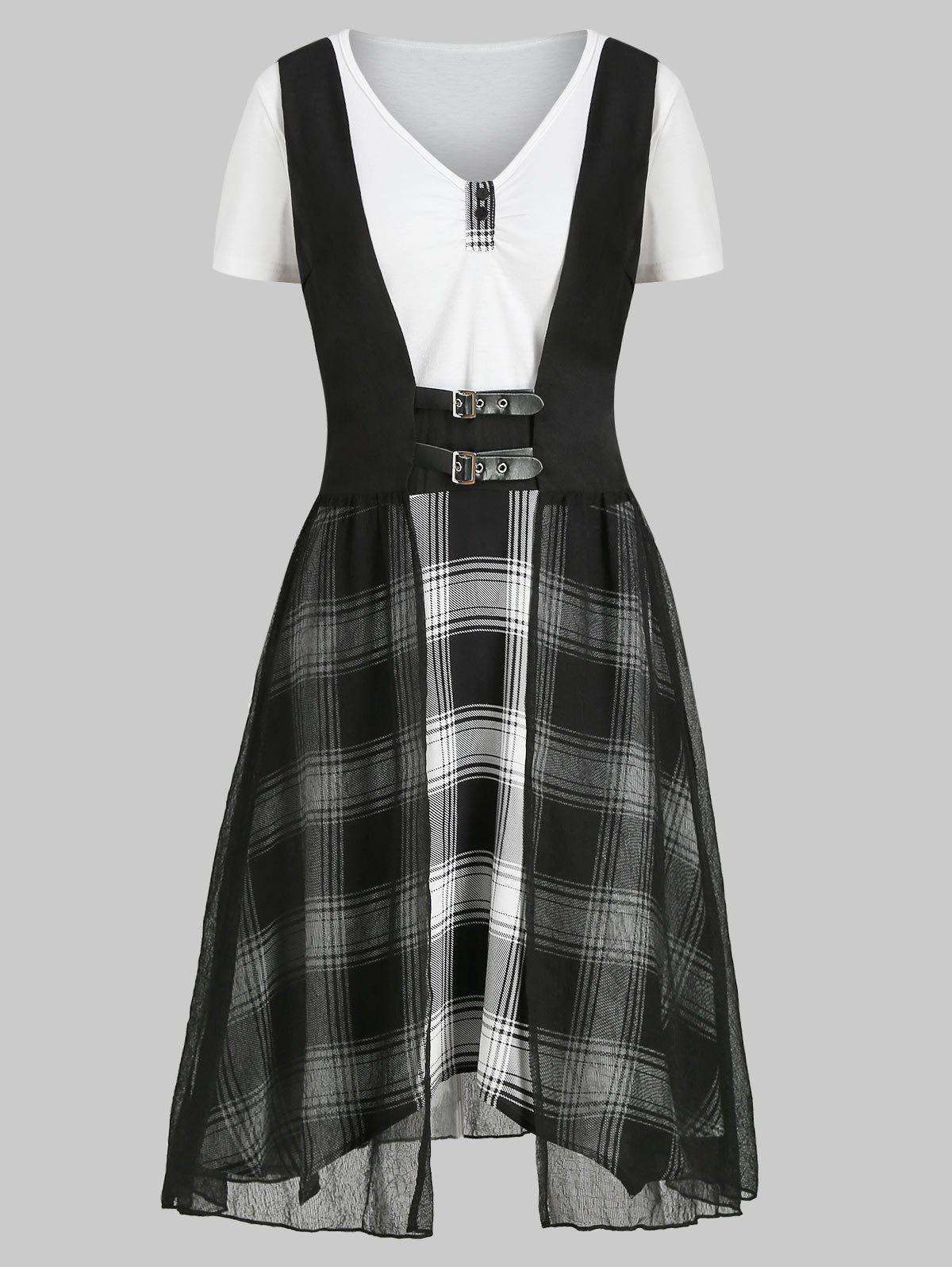 New Plaid V Neck Dress with Crinkle Tank Top