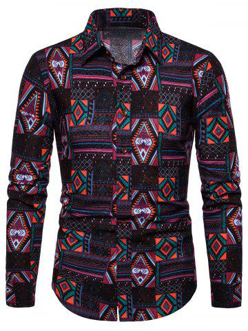 Geometric Printed Casual Long Sleeves Shirt
