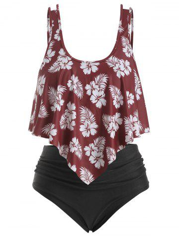 Overlay Ruffles Floral Leaves Print Plus Size Tankini Swimsuit - RED WINE - 5X