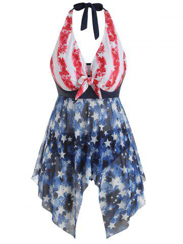 Plus Size American Flag Knotted Mesh Handkerchief Tankini Swimsuit