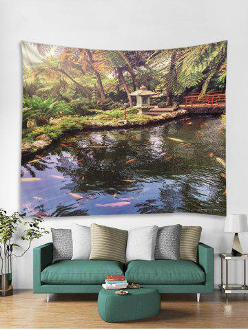 3D Forest Pond Fish Pattern Tapestry