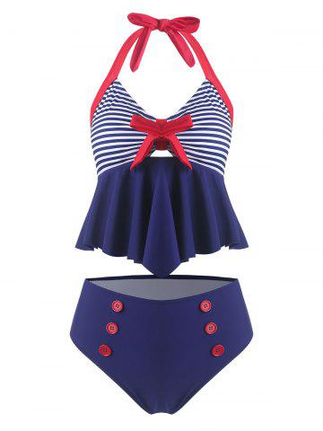 Vintage Bowknot Striped Halter Tankini Swimsuit
