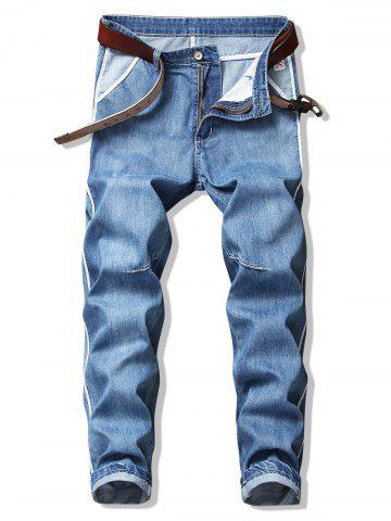Contrast Stripe Trim Washed Casual Denim Pants