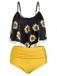 Plus Size Sunflower Print Cami Ruched Tankini Set -