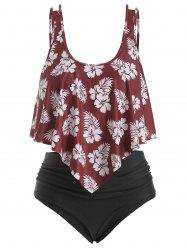 Overlay Ruffles Floral Leaves Print Plus Size Tankini Swimsuit -