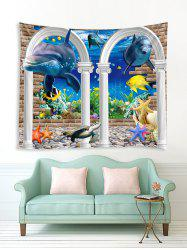 Underwater Arch Dolphin Print Tapestry Wall Hanging Art Decoration -