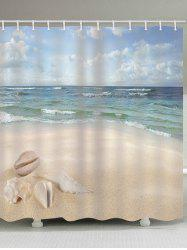 Fine Day Beach Conch Print Waterproof Bathroom Shower Curtain -