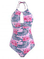 Leaves Floral Halter Cut Out Swimsuit -