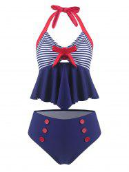 Vintage Bowknot Striped Halter Tankini Swimsuit -