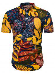 Ethnic Leaf Print Stand Collar Half Button Shirt -