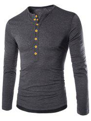 Color Spliced Button Decoration Long Sleeves T-shirt -