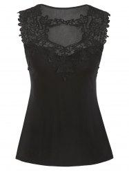 Cut Out Guipure Lace Panel Tank Top -