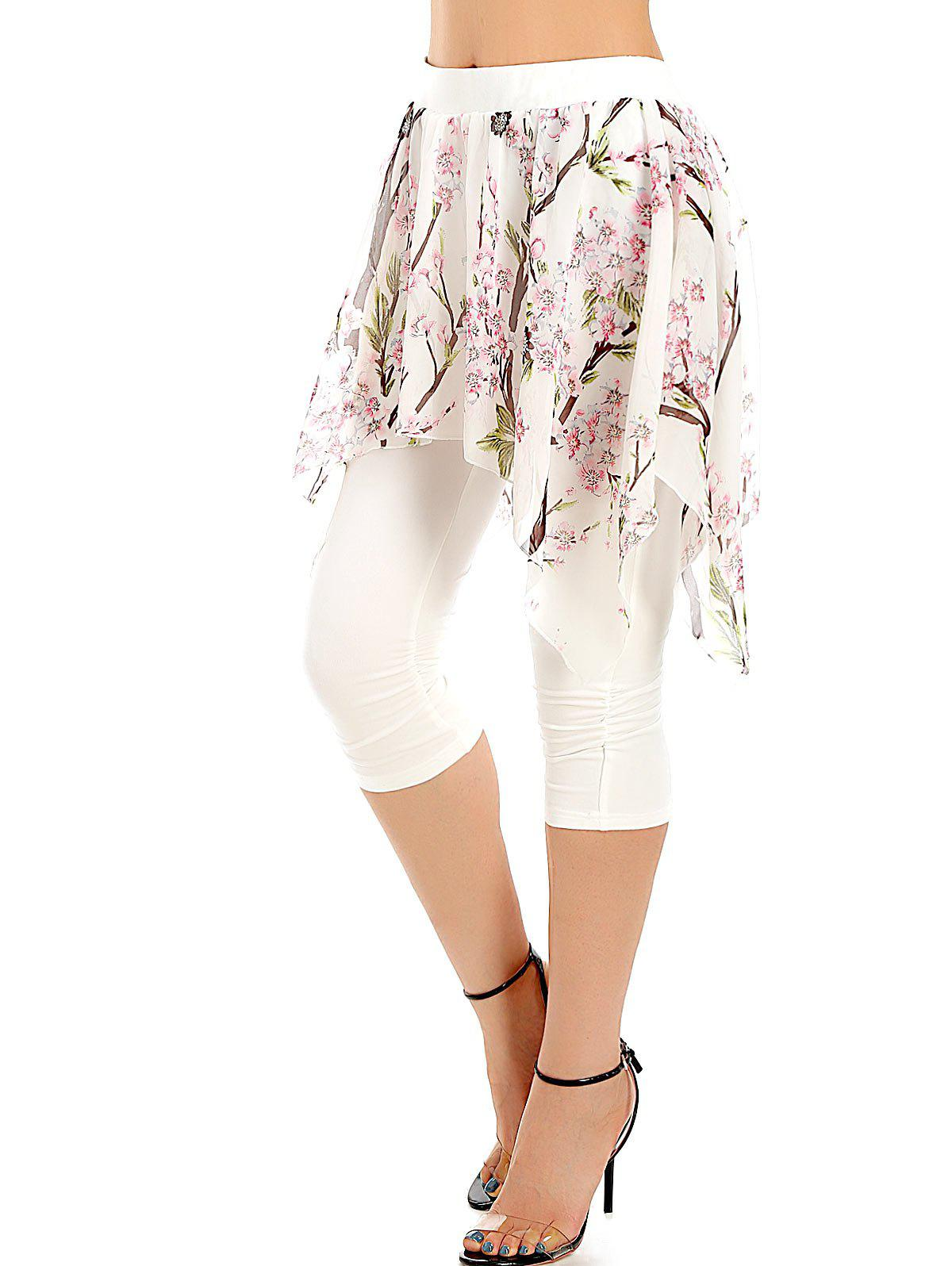Chic Print Layered Ruched Cropped Pants