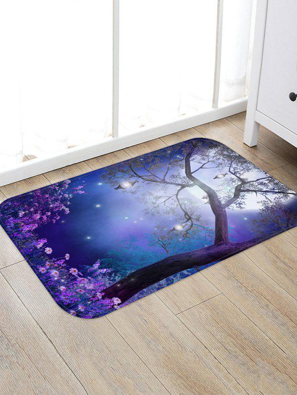 Affordable Dreamy Flower Forest Moon Scenery Print Area Rug