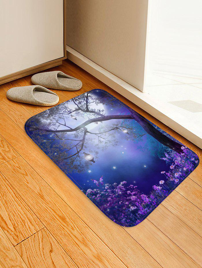 Discount Dreamy Flower Forest Moon Scenery Print Area Rug