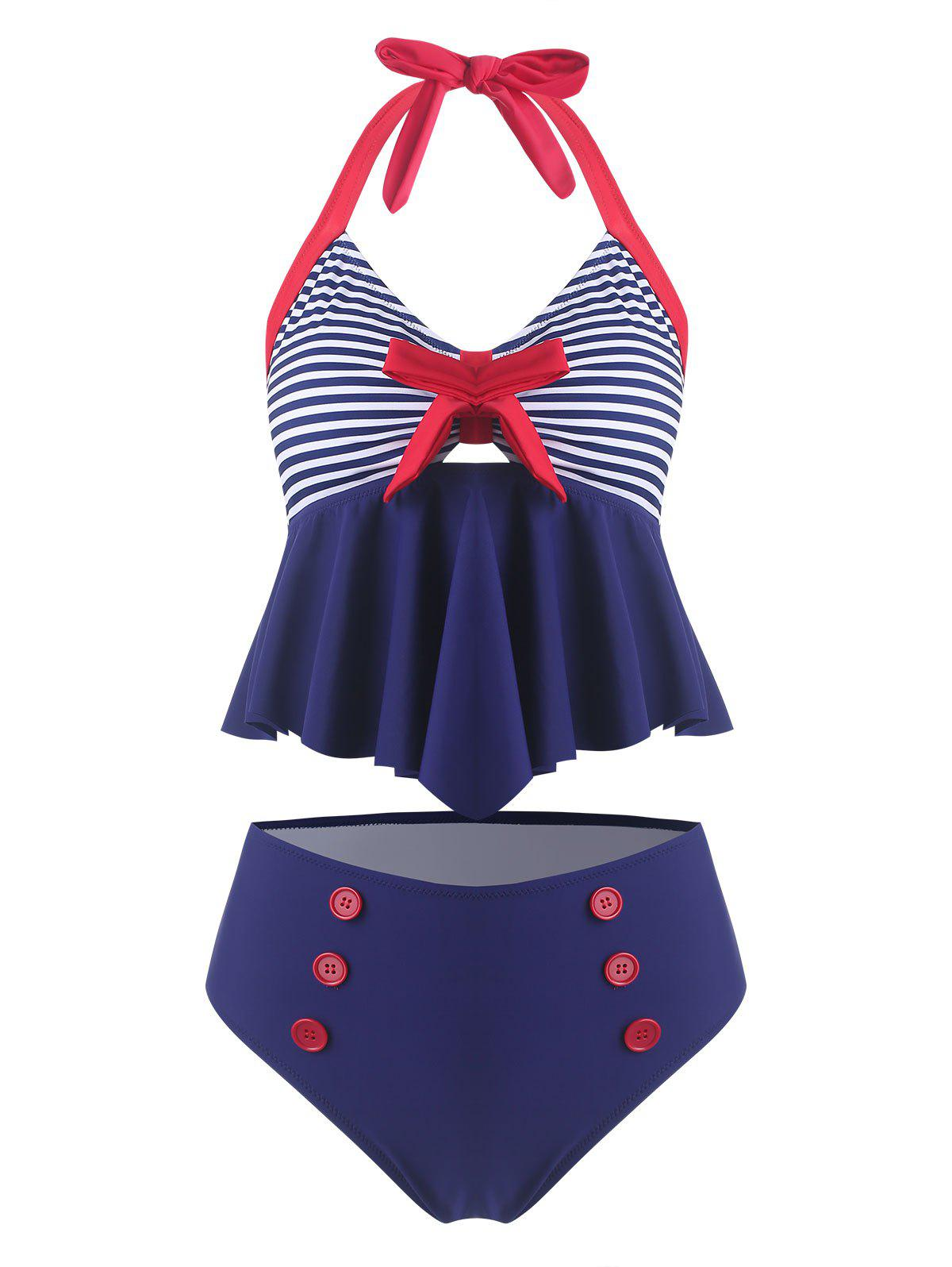 Cheap Vintage Bowknot Striped Halter Tankini Swimsuit