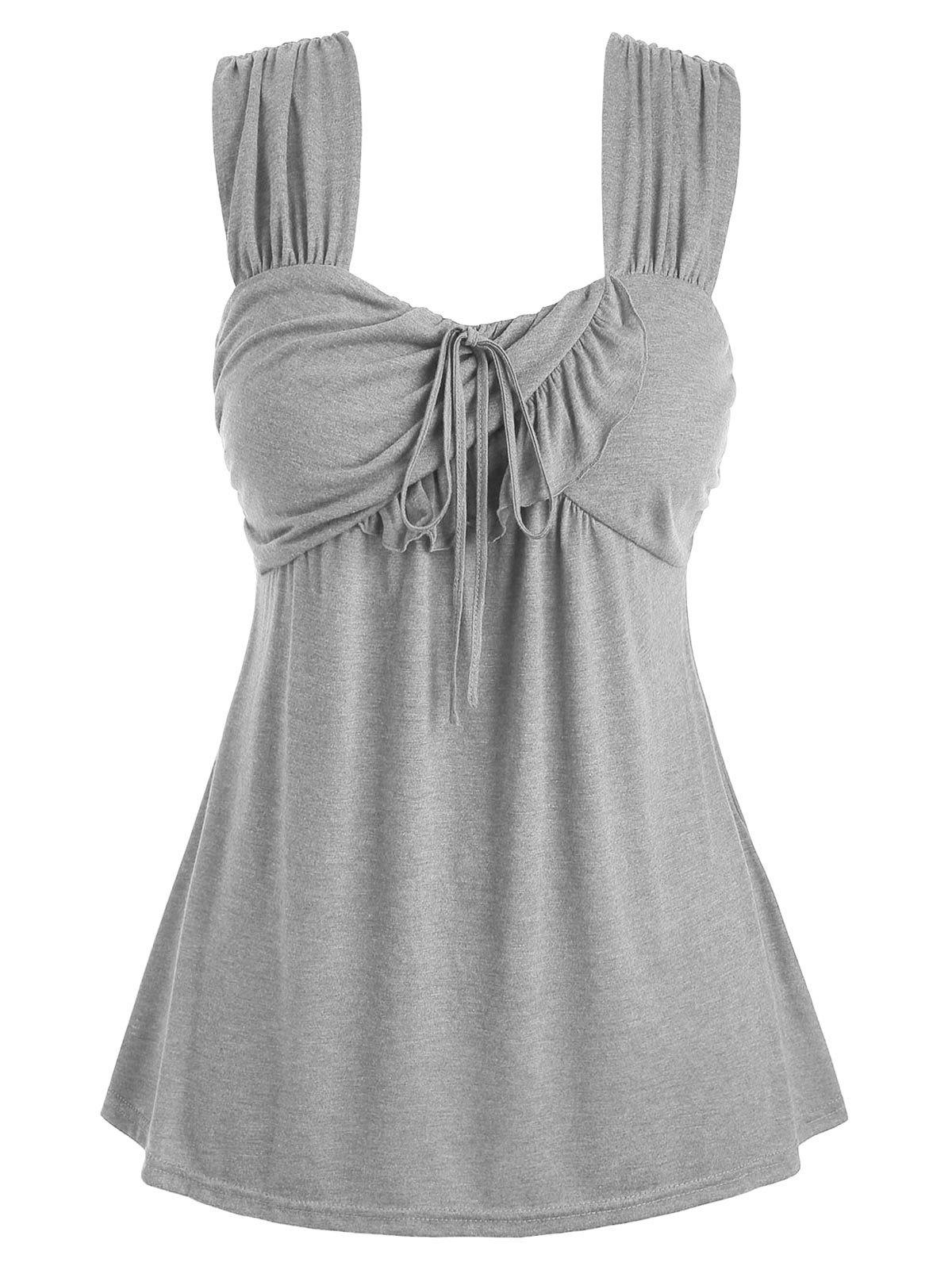 Outfit Plus Size Tie Marled Ruffle Tank Top