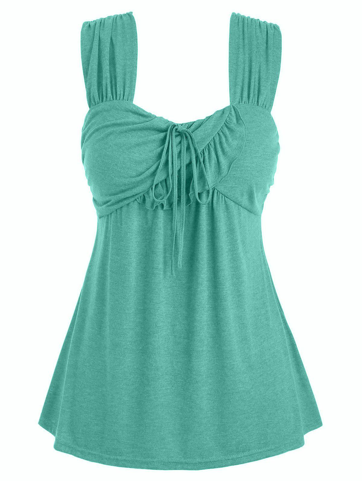 Chic Plus Size Tie Marled Ruffle Tank Top